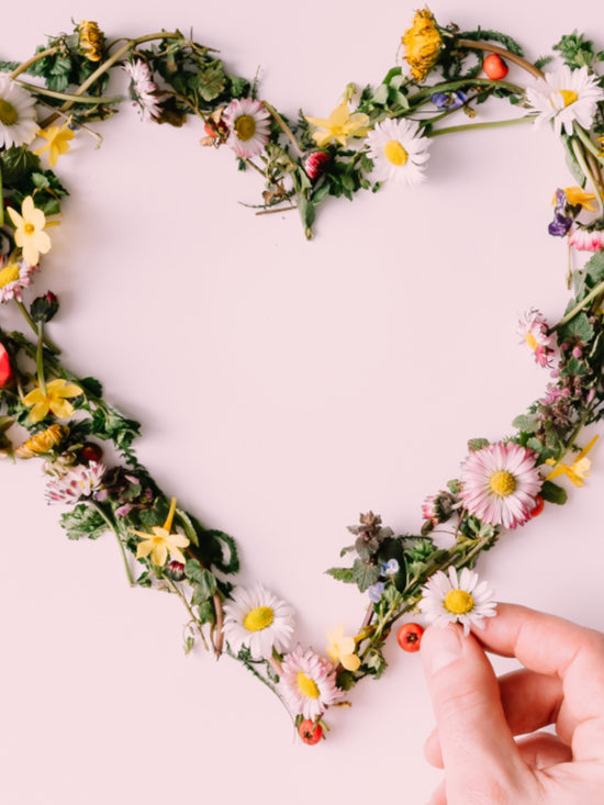 Image of flowers in a heart for valentines day